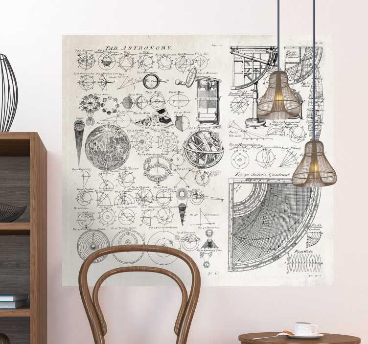 TenStickers. Astronomie Karte 18. Jh Wandtattoo. Wandtattoo mit einer Karte, auf der alle Daten und Instrumente der Wissenschaftler der Astronomie im 18. Jahrhundert entdeckt haben.