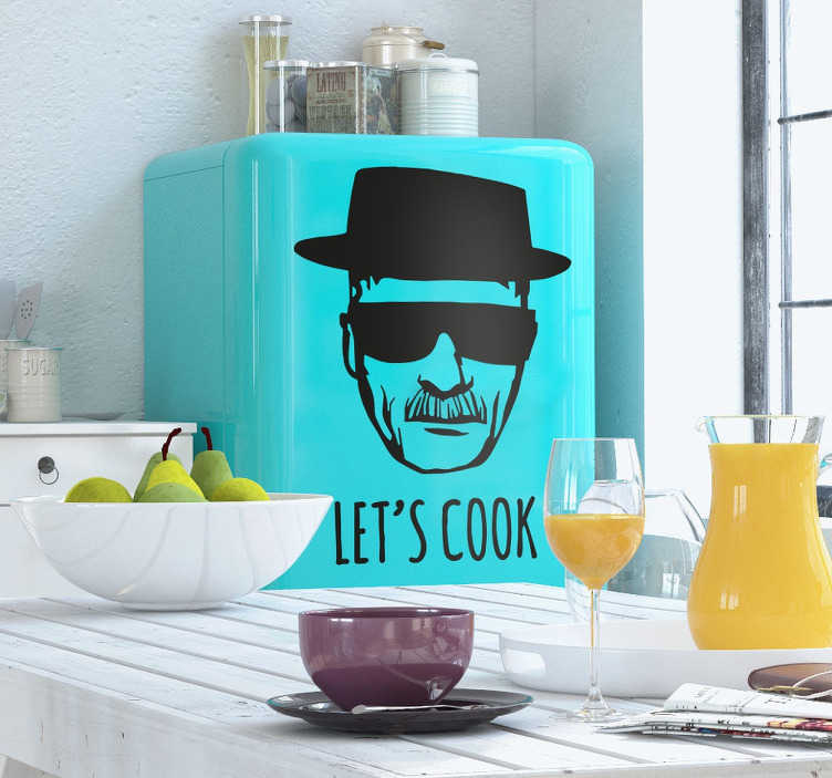 """TenVinilo. Vinilo decorativo Heisenberg let's cook. Vinilos adhesivos para seguidores de Breaking Bad con un retrato de su personaje principal y el texto """"vamos a cocinar"""" en inglés."""