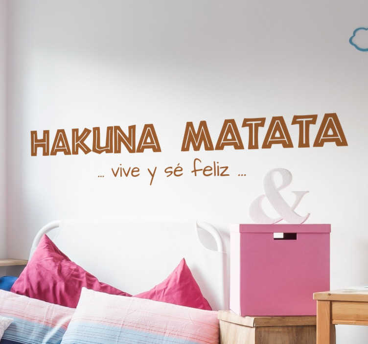 TenVinilo. Vinilo decorativo infantil hakuna matata. Vinilos decorativos infantiles con parte de la letra de esta reconocida canción del Rey León.