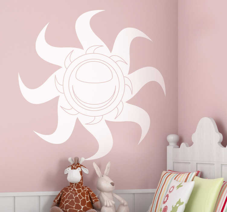 TenStickers. Sticker zon stralen. Deze muursticker omtrent een originele zon ontwerp. Verkrijgbaar in verschillende kleuren en maten. 10% korting bij inschrijving.
