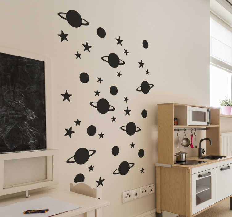 TenStickers. Stars and Planets Wall Stickers. Space wall stickers - Do your kids love outer space? Redecorate your children´s bedroom with this fun wall sticker.