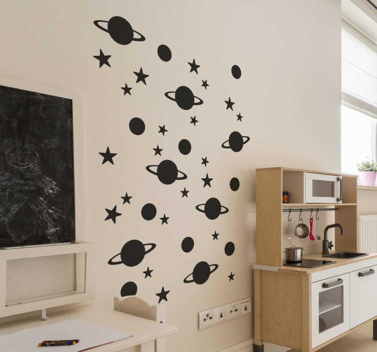 TenStickers. 별과 행성 벽 스티커. 우주 벽 스티커 - 당신의 아이들은 우주를 좋아합니까? 이 재미있는 벽 스티커로 자녀의 침실을 장식하십시오.