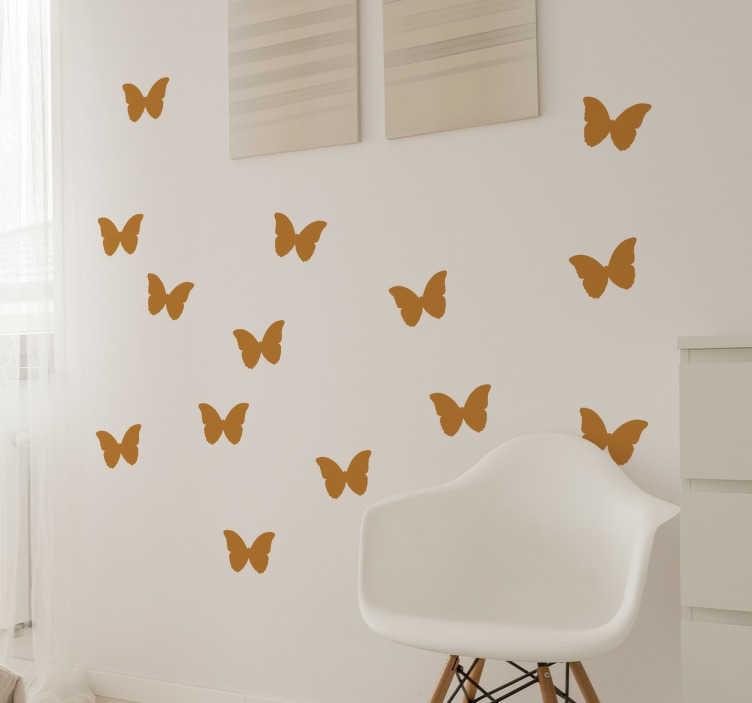 TenStickers. Vlinders Muursticker. Een stickervel met hierop meerdere vlinders afgebeeld! Geschikt om elke gewenste ruimte in uw woning te decoreren. Voordelig personaliseren.