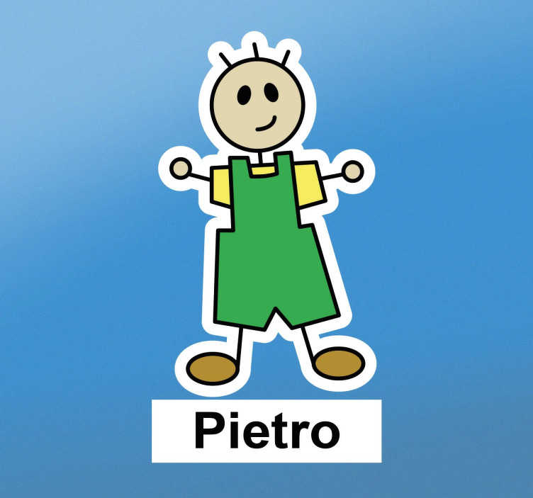 TenStickers. Personalised Little Boy Name Sticker. This customisable wall sticker consists of a little stick man, with a yellow t-shirt and green overalls.