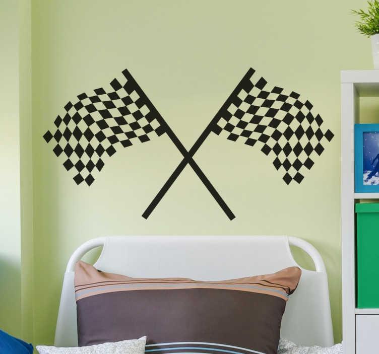 TenStickers. Nalepka za eno zastavico zastavice. Formula ena kovcedena zastava stenske nalepke za okrasitev stene vsakega ljubitelja motornih športnih dirk. Te ikonične črno-bele zastave so kot nalašč za uporabo nad vašo posteljo ali v katerem koli praznem prostoru na steni, da ustvarite čudovit nov videz v sobi in pokažete svojo ljubezen do avtomobilskih dirk.