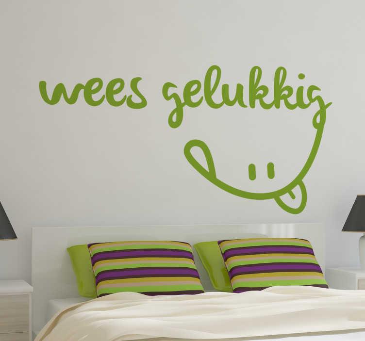 """TenStickers. Ben Gelukkig Muursticker. Vrolijk de kamers in uw woning op met deze leuke en creatieve muursticker met de tekst """"Wees Gelukkig"""". Kleur en formaat aanpasbaar. Ervaren ontwerpteam."""