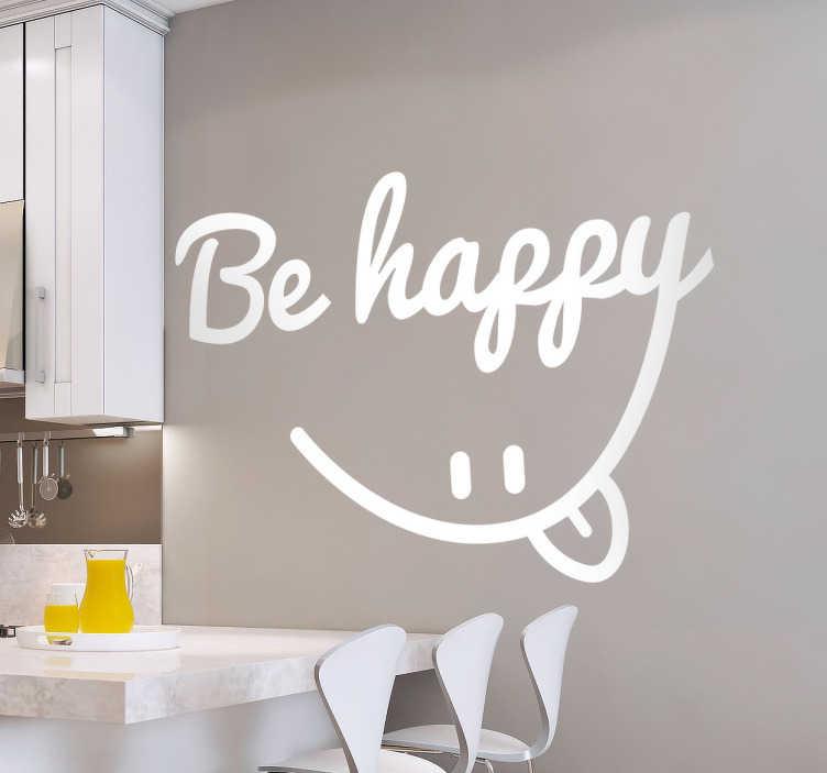 TenVinilo. Vinilo decorativo be happy caligráfico. Vinilos pared originales con un texto caligráfico en inglés del que se descuelga un retrato en línea de una cara sonriente.
