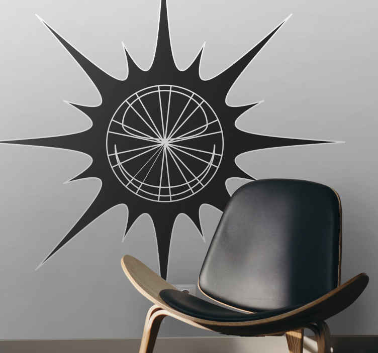 TenStickers. 发光的太阳贴纸. 充满阳光的创意贴纸,可让您的家变得明亮。完美的贴花,可以在家中装饰一堵空墙!
