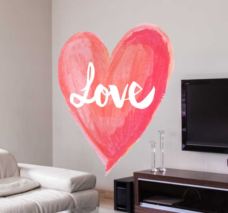 TenStickers. Naklejka na ścianę serce LOVE. Romantyczna naklejka na ścianę przedstawiająca serce z napisem LOVE w środku. Wzór wygląda jakby był namalowany farbami lub pastelami.