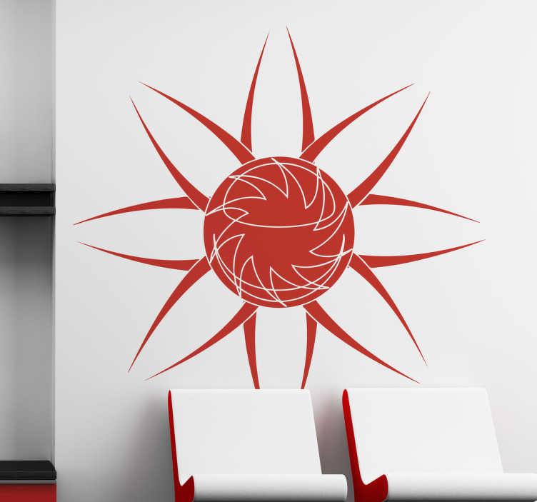 TenStickers. Blumen Sonne Aufkleber. Mit diesem ausgefallenen Wandtattoo der Sonne, die wie eine Blume aussieht können Sie Ihre Wand dekorieren.