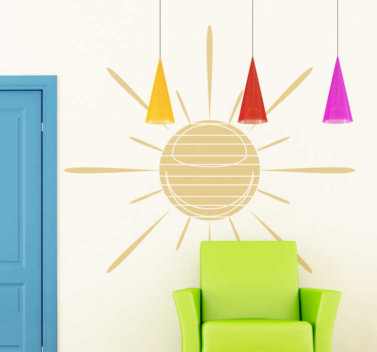 TenStickers. Autocollant mural soleil rayé. Stickers décoratif illustrant un soleil avec des rayures.Idée déco pour la chambre à coucher ou le salonde façon originale.