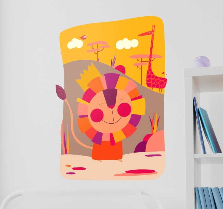 TenStickers. Safari Wandtattoo. Wandtattoo für das Kinderzimmer. Das Wandtattoo illustriert einen Löwen und eine Giraffe.