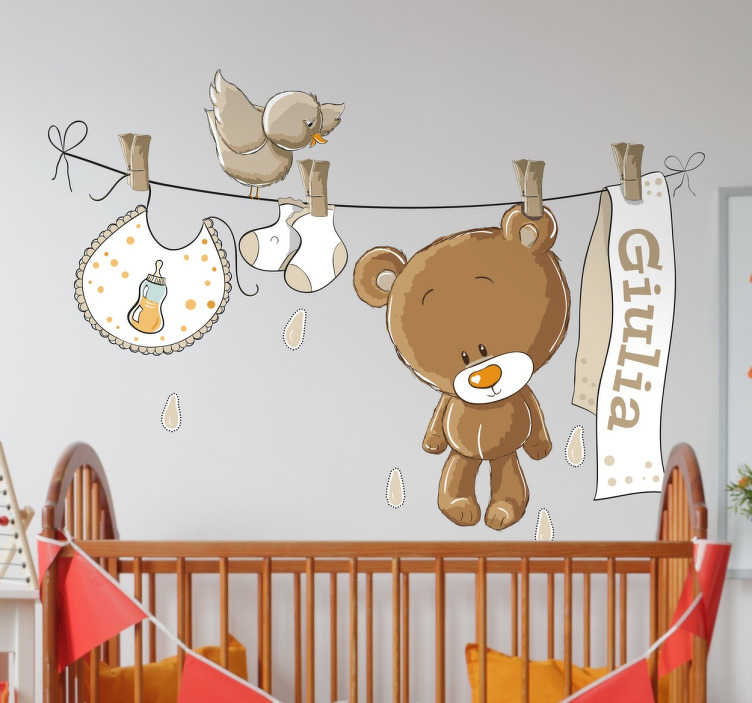 TenStickers. Personalised Nursery Washing Line Wall Decal. A wall decal that is perfect for decorating your child's nursery room in your home. Add any name that you like to make it more personal for you!