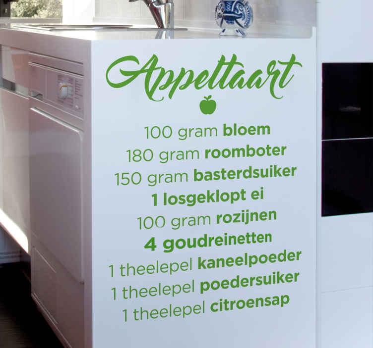 TenStickers. Muursticker Recept Appeltaart. Het recept van een van de bekendste taarten die in Nederland gemaakt wordt, de appeltaart in de vorm van een muursticker!