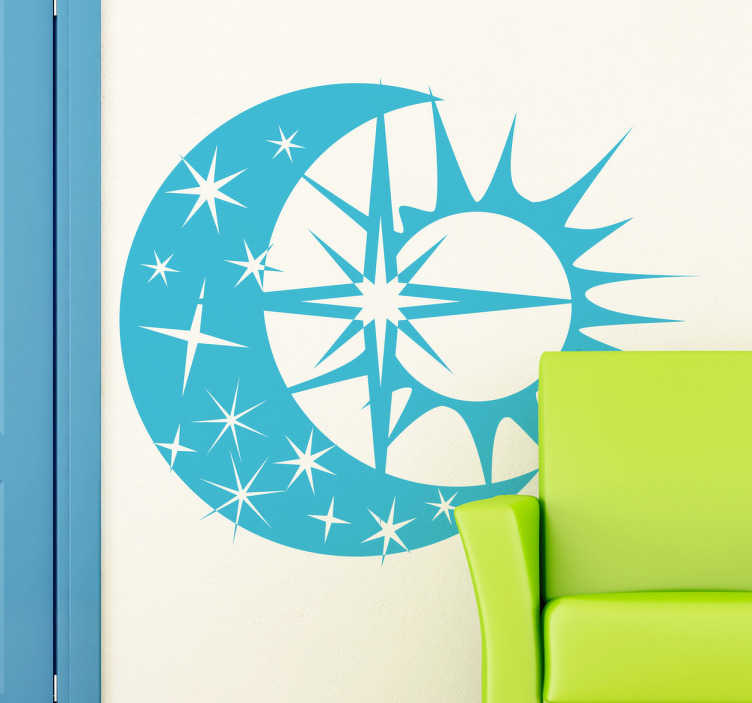 TenStickers. Naklejka słońce, księżyc i gwiazdy. Naklejka dekoracyjna, która nada Twoim ścianą nowy gwiezdny wygląd. Obrazek przedstawia nachodzące na siebie: słońce, księżyc i gwiazdy.