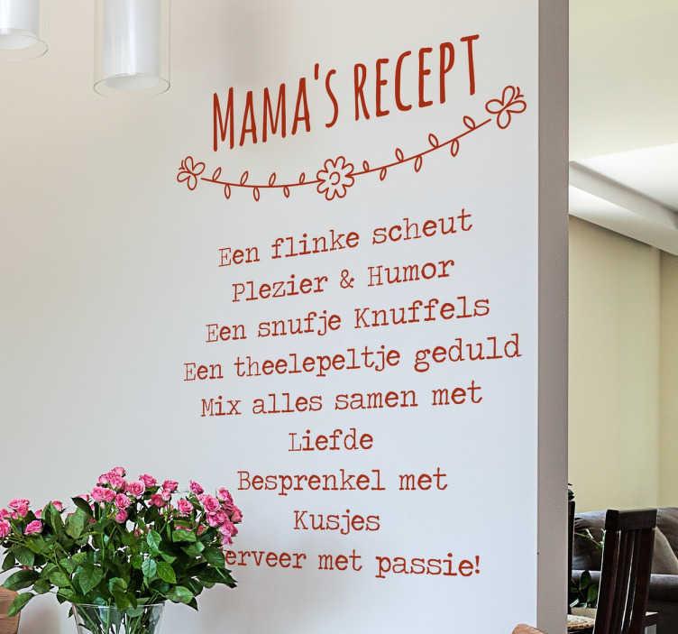 TenStickers. Tekststicker Mamma´s Recept. Een leuke en inspirerende tekst sticker met het beste recept ooit: Mama's recept! Verkrijgbaar in verschillende kleuren en maten. Dagelijkse kortingen.
