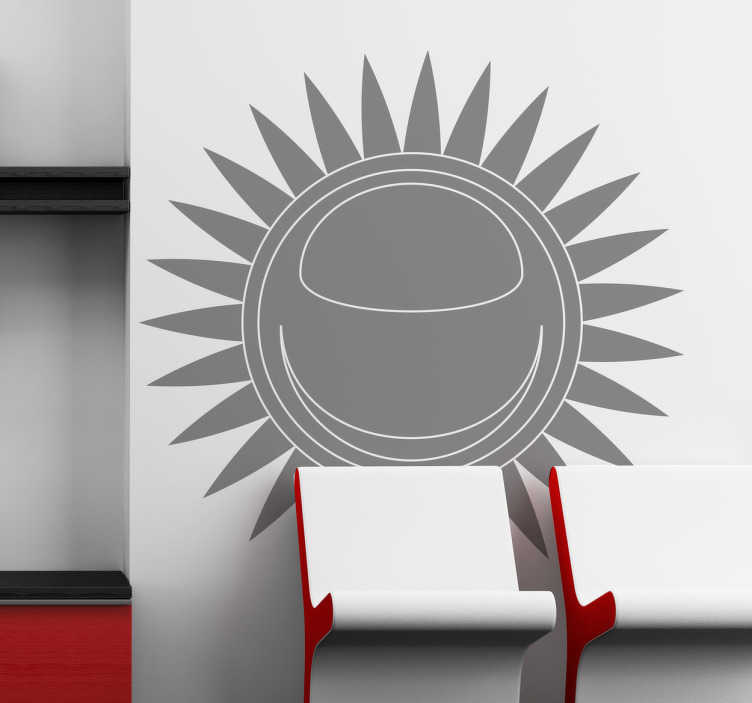 TenStickers. Sticker soleil monochrome. Stickers monochrome illustrant un soleil formé à partir d'un cercle parfait et d'une multitude de rayons.Idée déco pour la chambre à coucher ou le salon.