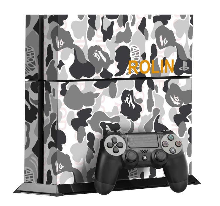 TenStickers. PS4 sticker Grå Camouflage. Personliggør din PlayStation 4 konsoller med denne sticker med dette Grå Camouflage design. Dekorere og beskytte din PS4 mod ridser og støv.