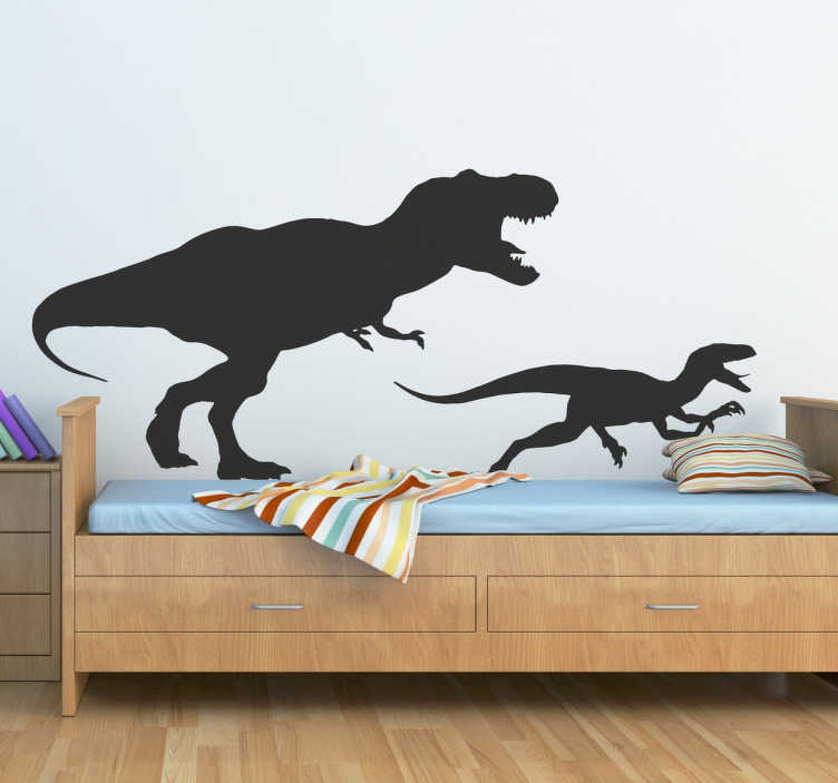 TenStickers. T Rex and Velociraptor Sticker. If your kids like paleontology and their favourite reptiles are the Jurassic Tyrannosaurus Rex and Velociraptor then this vinyl with the silhouette of two extinct animals it is perfect for them.
