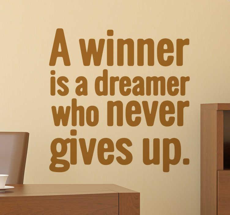 TENSTICKERS. Nelson mandela winner quoteステッカー. 有名な引用壁のステッカーのコレクションから、南アフリカの元大統領からのこの感動的な引用から、ネルソン・マンデラはあなたがあなたの夢を決して諦めてはならないことを示しています。このテキストの壁のステッカーは、あなたが選んだ色で透明なフォントで「勝者は決して諦めない夢想家」と言います。