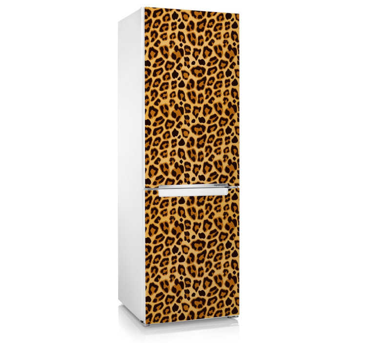 TenStickers. Jachtluipaard Print Koelkaststicker. Een geweldige print van een jachtluipaard om de koelkast in uw woning mee te decoreren! Afmetingen aanpasbaar. Snelle klantenservice.