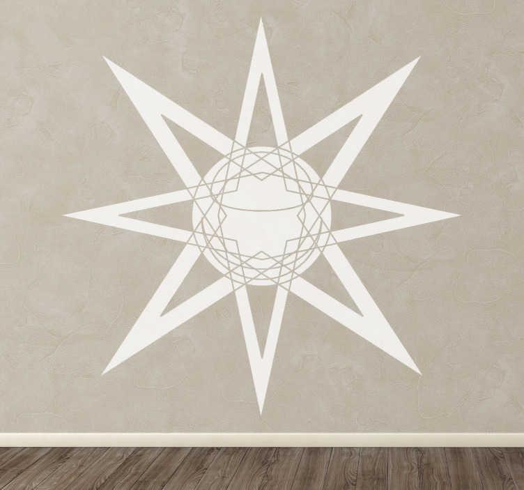 TenStickers. Stern Planet Aufkleber. Mit diesem Wandtattoo von der Sonne mit einem Stern können Sie Ihrem Zuhause eine originelle und moderne Note verleihen.