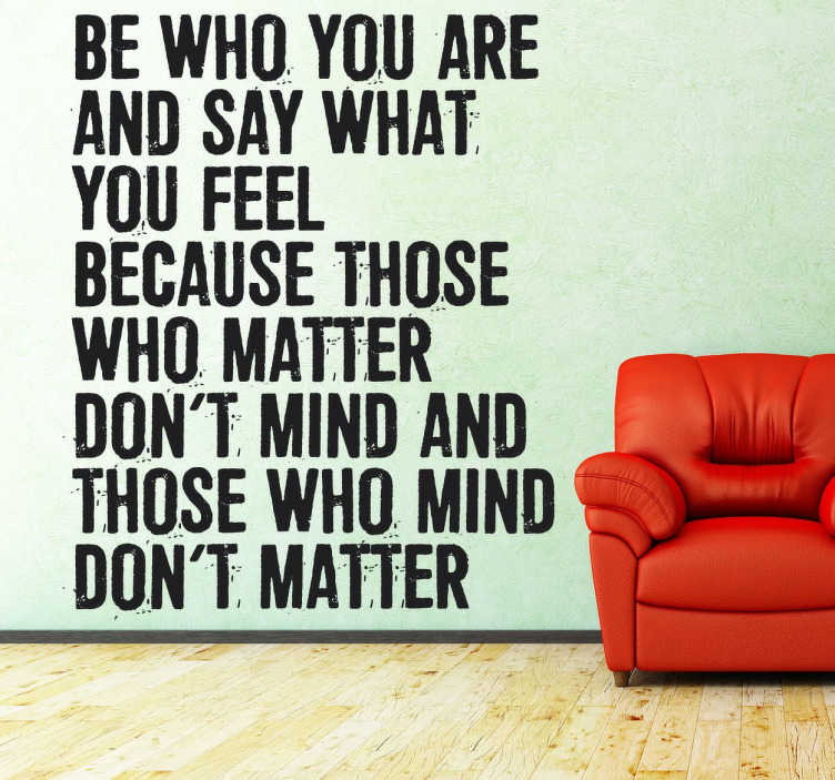 TenStickers. Be Who You Are Wall Quote Sticker. A wall quote sticker to remind you about the important of being who you are.