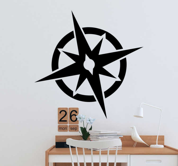 TenStickers. Compass Rose Wall Sticker. A simple and elegant wall sticker with a design of a compass rose to decorate any room in your home.