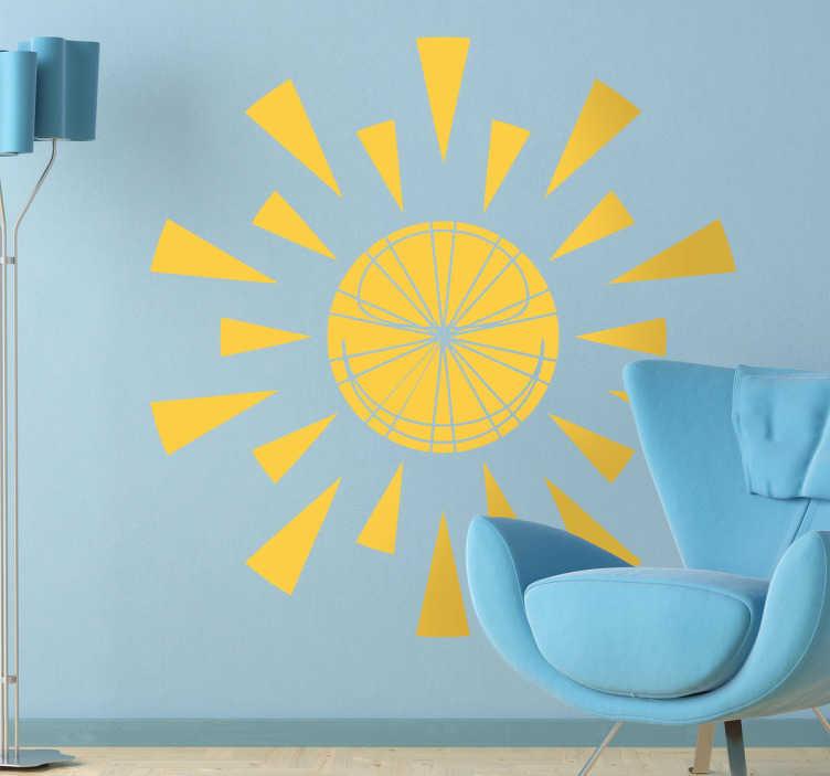 TenStickers. Naklejka słońce trójkąty. Naklejka dekoracyjna w stylu nowoczesnym, która przedstawia słońce ozdobione trójkątami. Obrazek jest dostępny w wielu kolorach i rozmiarach.