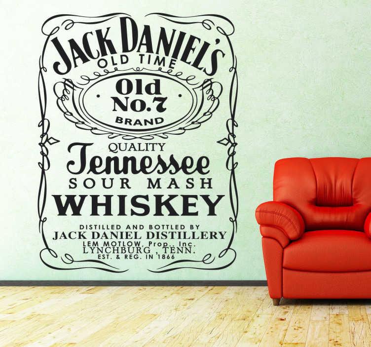 TenStickers. Naklejka dekoracyjna Jack Daniel's nº7. Naklejka przedstawiająca kultową etykietkę whiskey Jack Daniels, świetna dla każdego konesera!