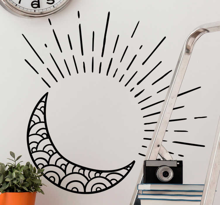 TenStickers. Sun, Moon & Stars Sticker. Decorative decal of the sun and moon with little stars. A superb design from our collection of star wall stickers.