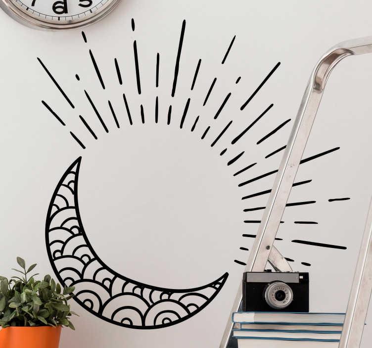 TenStickers. Adhésif mural soleil et lune. Soleil et lune sous un ciel étoilé, stickers mural pour une déco originale et simple pour votre intérieur.