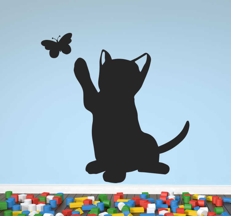 TenStickers. Cat Catching Butterfly Sticker. A sweet wall sticker with the silhouette of a playful ca trying to catch a butterfly. Ideal for animal or cat lovers to decorate their homes.