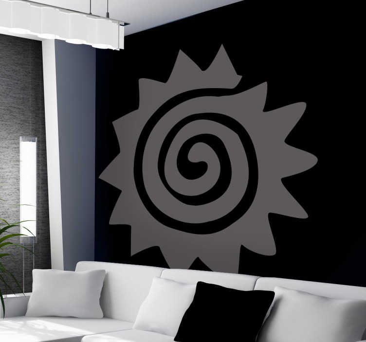 TENSTICKERS. 渦巻き太陽デカール. 螺旋状の太陽の創造的なステッカー!このデカールであなたのリビングルームを飾るとあなたのゲストを催眠!シンプルだが効果的なデザインで部屋をまとめて、本当にあなたの家のインテリアをパーソナライズする。それらをミュートにしておく壁に色を付け加えると、このステッカーは50種類の色で利用できます!