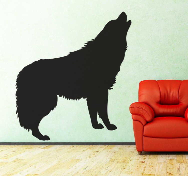TenStickers. волк декоративная наклейка декор гостиной. Декоративная наклейка из черного волка, наносимая на любую поверхность и настраиваемая по вашему желанию. быстрая доставка. +50 цветов.
