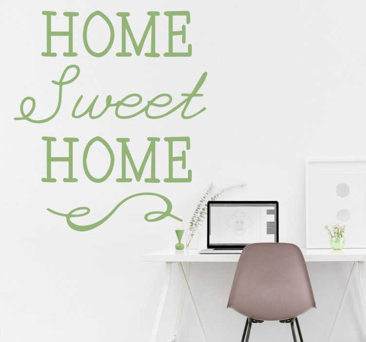 """TenStickers. Adesivo Elegante Home Sweet Home. Adesivo decorativo che raffigura la scritta molto elegante in inglese """"Home Sweet Home"""", che in italiano significa Casa dolce Casa."""