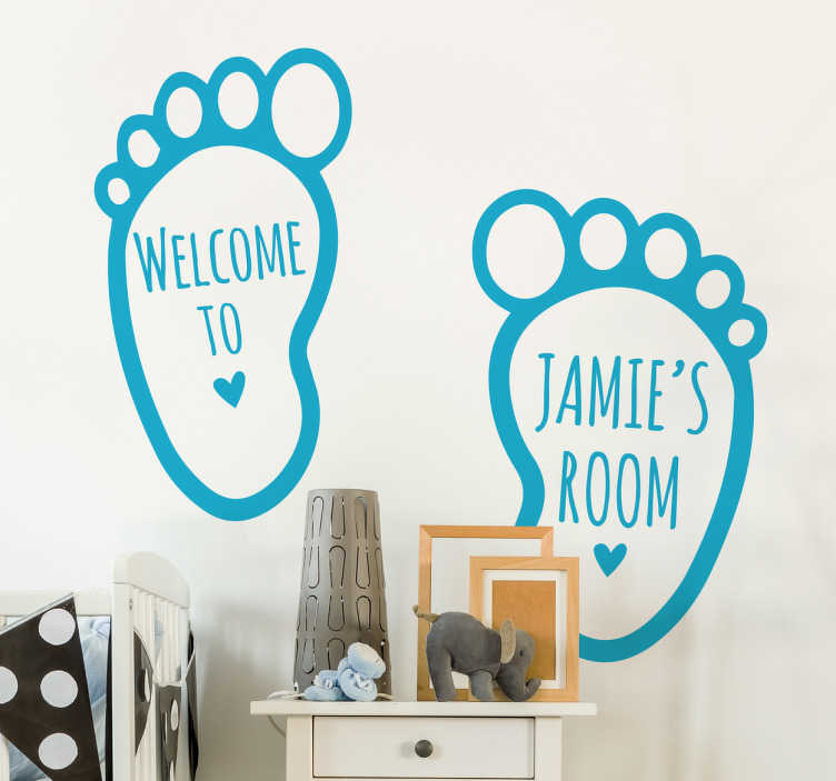 TenStickers. Personalised Footprint Kids Sticker. From our collection of personalised wall stickers for kids, a cute set of footprints to decorate your child's bedroom or nursery.