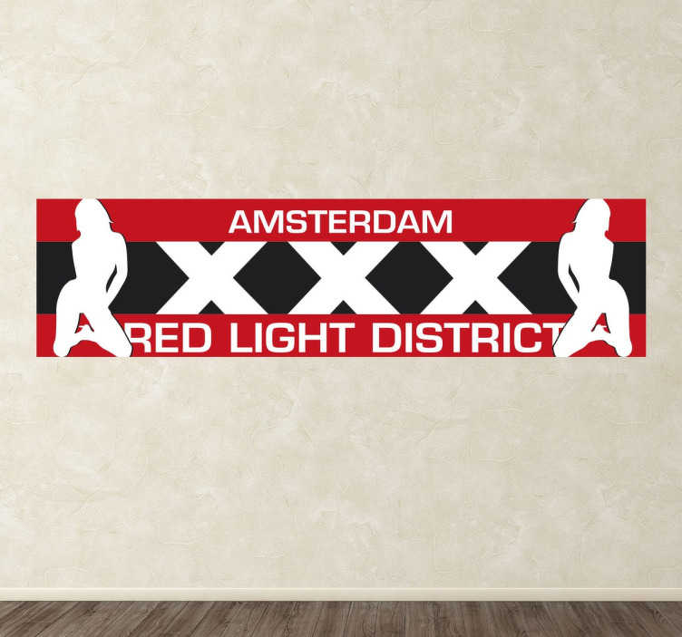 """TenStickers. Sticker Red Light District Amsterdam. Un sticker érotique représentant la célèbre """"Red light district"""" d'Amsterdam, également connu sous le nom de """"De Wallen""""."""