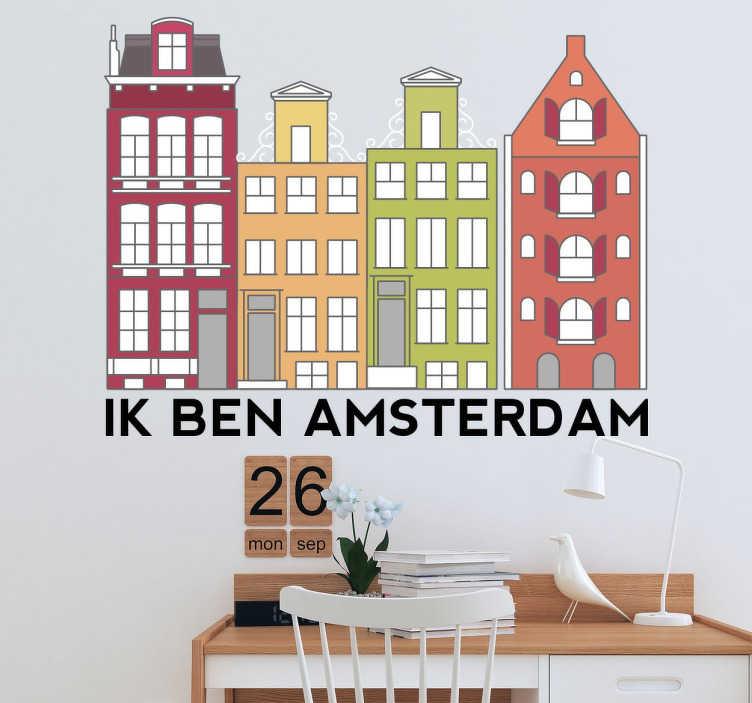 TenStickers. Muursticker Grachthuizen Amsterdam. Een leuke klassieke tekening die de grachthuizen weergeeft in Amsterdam als muursticker. Heeft u ook iets met de metropool van Europa?