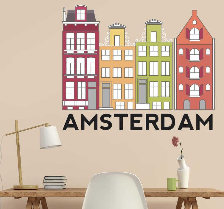 TenStickers. 阿姆斯特丹建筑物墙贴. 墙上的贴花,上面有荷兰首都阿姆斯特丹标志性和多彩建筑的插图。