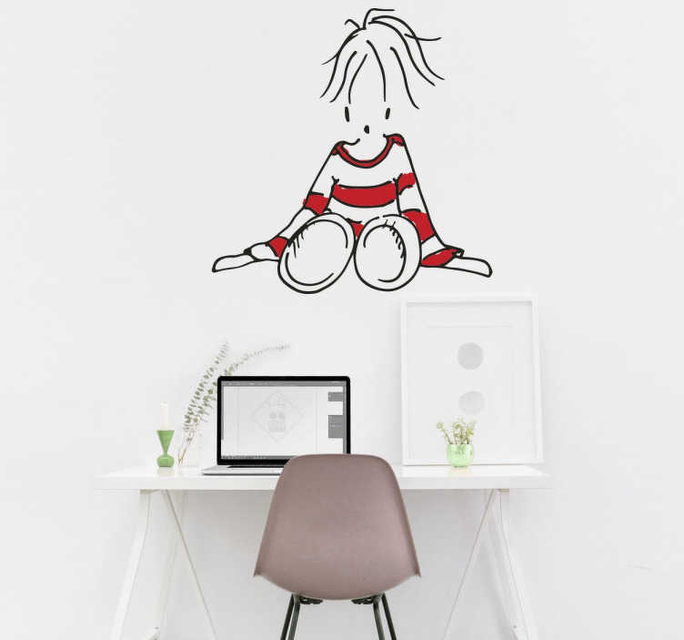 TenStickers. fille en pull-over assise. Un sticker mural de dessin de petite fille assise, habillée en pull-over rayé. Un adhésif applicable sur tout type de surfaces.