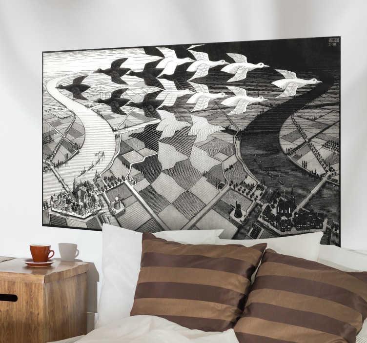 Escher Engraving Decorative Wall Mural