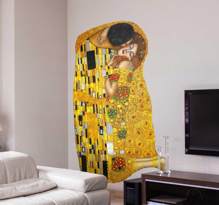 TENSTICKERS. クリムト「キス」の絵の壁のステッカー. オーストリアの画家グスタフ・クリムトによる有名な芸術作品を表現した印象的な壁ステッカー。