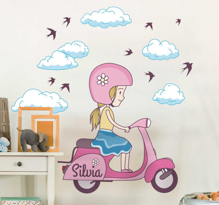 TenStickers. Kids Personalised Girl on Scooter Sticker. A children's wall sticker of a little girl riding on a white scooter surrounded by clouds and birds. Customise this decal by adding your child's name to make it more personal for them.