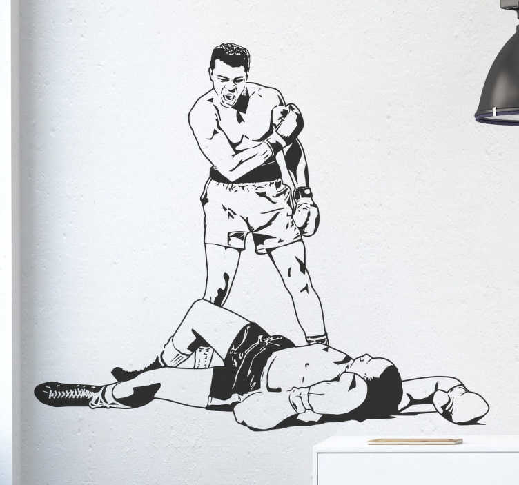 TenStickers. Muhammad Ali Knock Out Wall Sticker. A great sports wall sticker of the legendary Muhammad Ali knocking out one of his opponents on the floor.