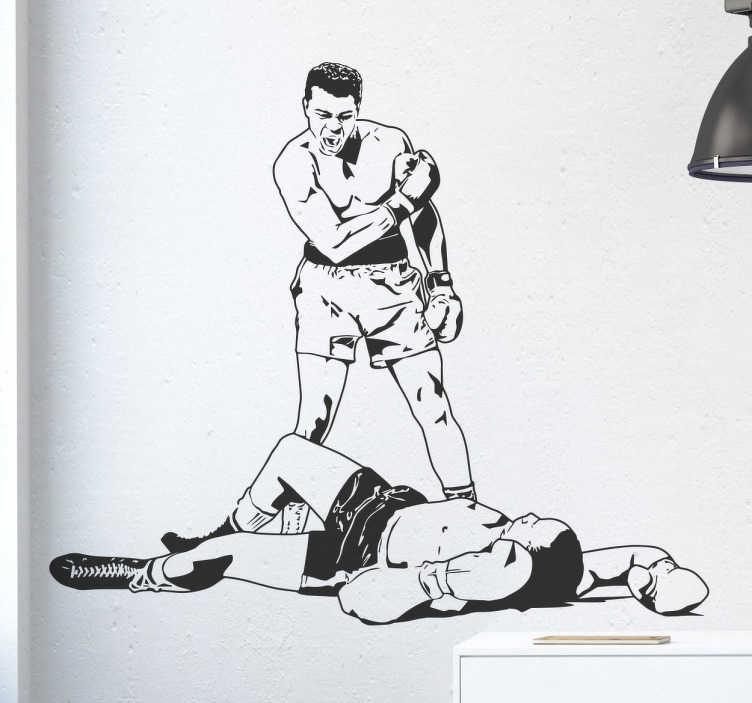 TenVinilo. Vinilo decorativo pelea Muhammad Ali. Vinilos de boxeo para amantes de este deporte de contacto y en especial de la figura de Cassius Clay.