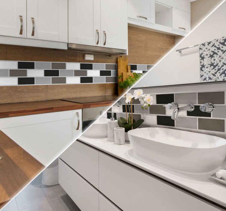 TenStickers. Adesivo de azulejos WC. Adesivo decorativo ornamentado com azulejos de tons brancos, pretos e cinzentos.  Adesivo decorativo em forma de azulejo para WC.