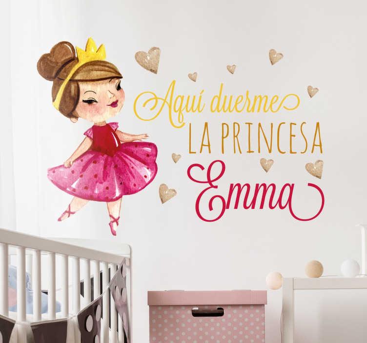 TenVinilo. Vinilo infantil personalizable princesa. Haz que tu hija se sienta una princesa con un vinilo decorativo infantil personalizable.