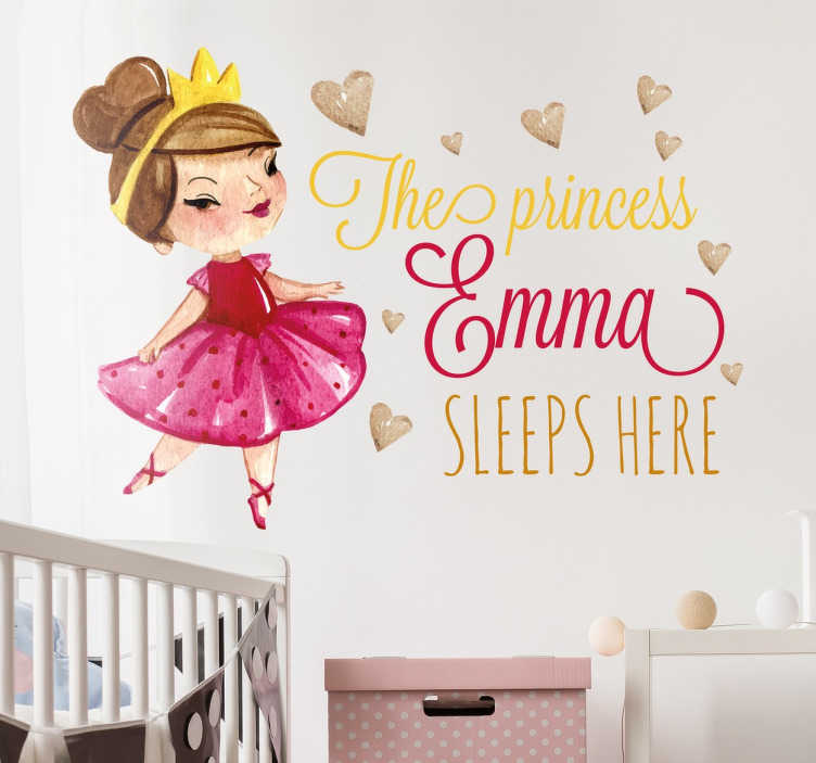 TenStickers. Princess Sleeps Here Personalized Sticker. A beautiful personalized children's wall decal that is ideal for your little princesses at home.