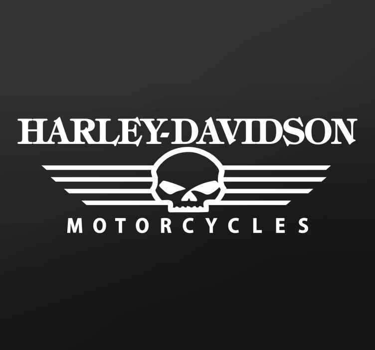 TenStickers. Adesivo Logo Teschio Harley Davidson. Adesivo decorativo che raffigura la scritta Harley Davidson, ed un teschio con la scritta in basso Motorcycles.
